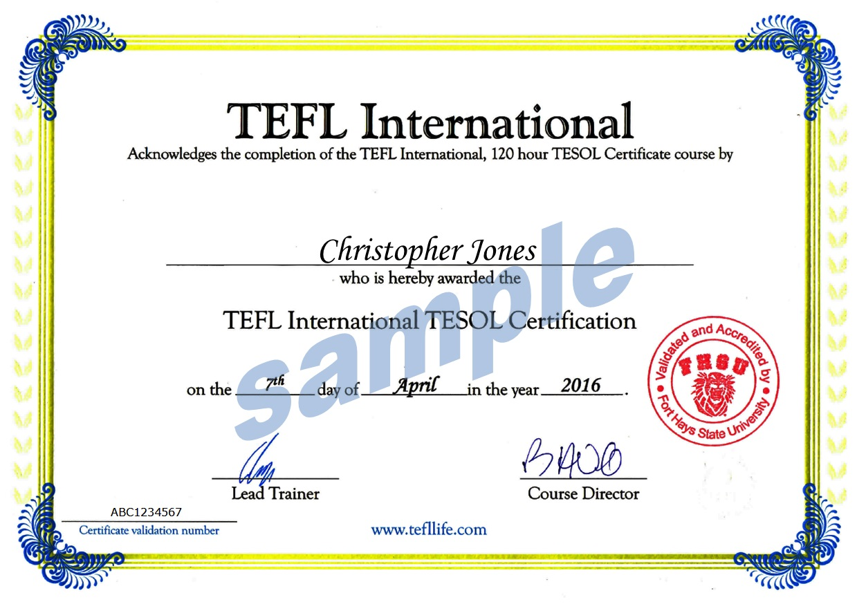 Sample TEFL Certificate with ITTT